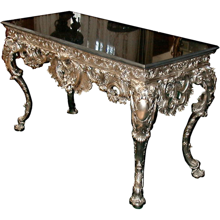 4755 French Silver Bronze Console Table With Black Marble Top