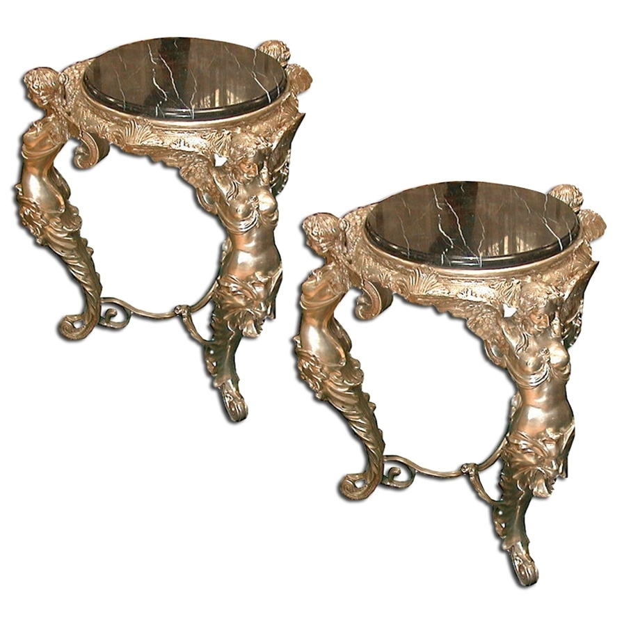 4754 Pair of French Silver Over Bronze Figural End Tables with Black Marble Top