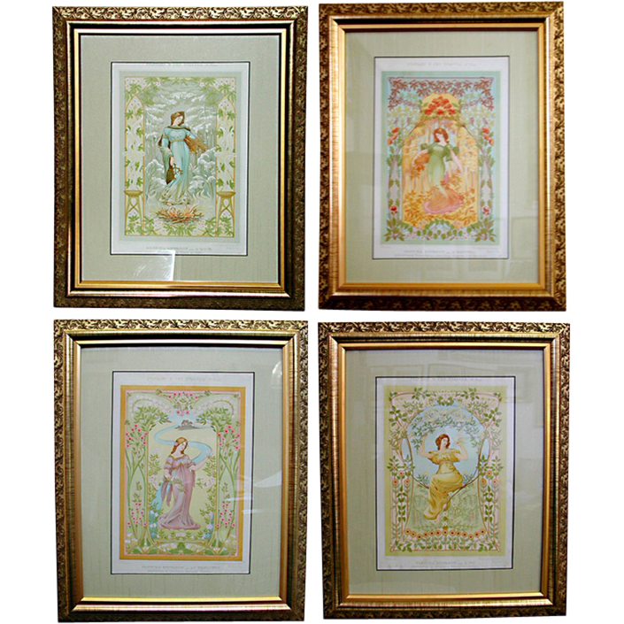 4764 Set of Four French Art Nouveau Prints