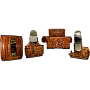 4773 6-Pc. Burled Walnut Art Deco Bed Set circa 1920