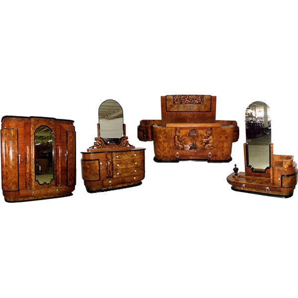 4773 6-Pc. Burled Walnut Art Deco Bed Set circa 1920