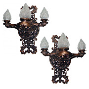 4793 Pair of Large Antique Bronze Sconces with Alabaster Shades