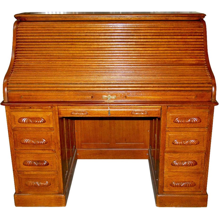 4802 19th C. American Oak Rolltop Desk
