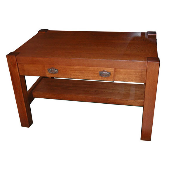 4847 nice oak mission table with center drawer c 1910 for C table with drawer