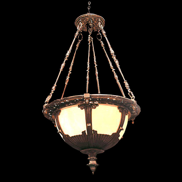 4853 Beautiful Bronze & Amber Stained Glass Hanging Light Fixture