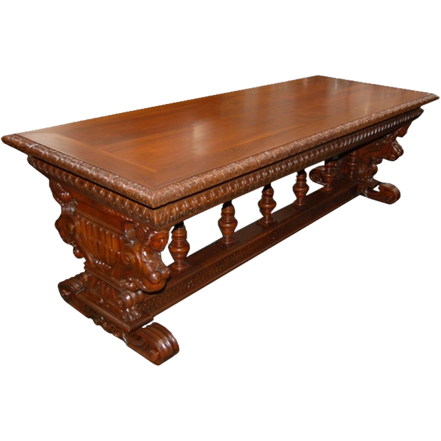 4857 19th C. Italian Victorian Figural Library Table in Walnut