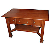 4864 Oak Mission Desk with 3 Drawers and Nice Style c. 1910