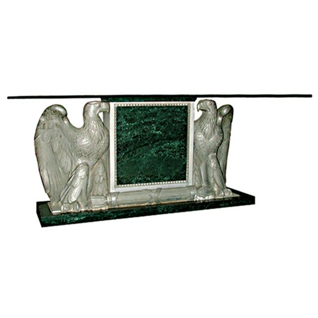 "4870 Spectacular Eagle Bank Table/Desk with Verde Green Marble Base and 3/4"" Thick Beveled Glass Top"