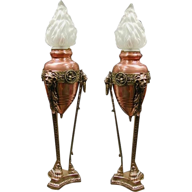 4880 Pair of Antique Bronze & Copper Lion Urn Lights with Glass Shades