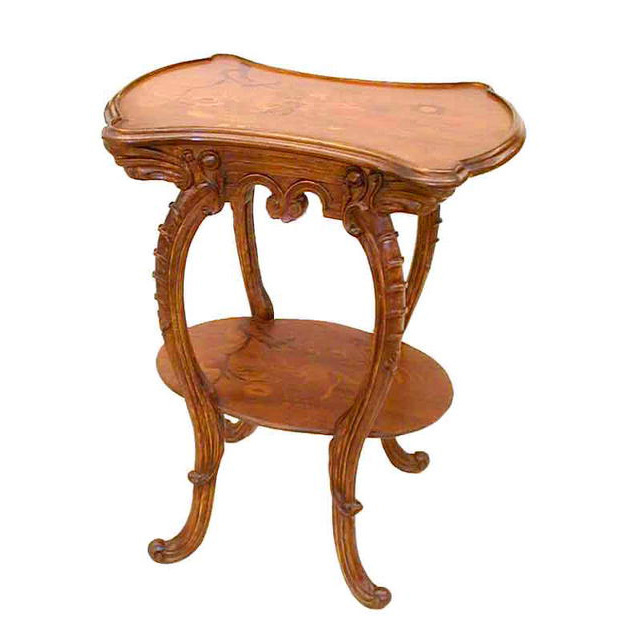 4888 Inlaid Art Nouveau Two-Tier Table attr: Louis Majorelle