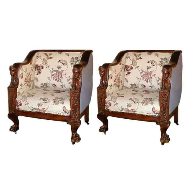 4895 Pair of Fancy Carved Mahogany Armchairs with Ladies Heads