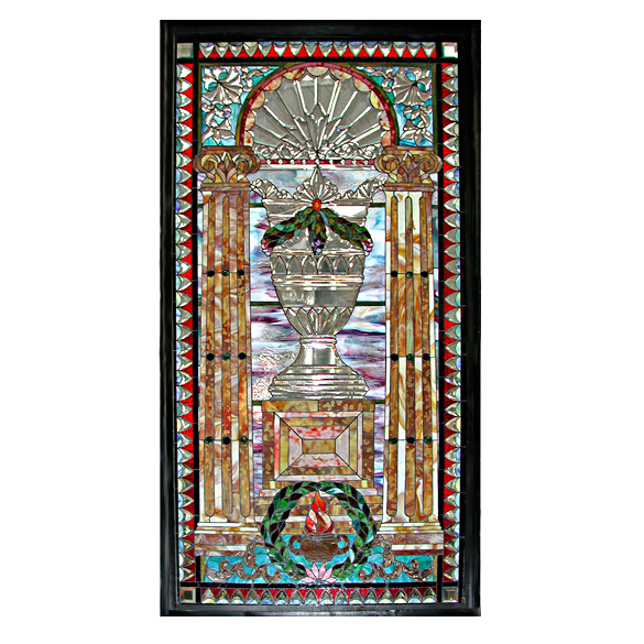 4911 Beautiful Ornate Jeweled & Beveled Stained Glass Window