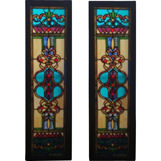 4926 Pair of Antique Stained Glass Window Panels, Brilliant Colors and Design