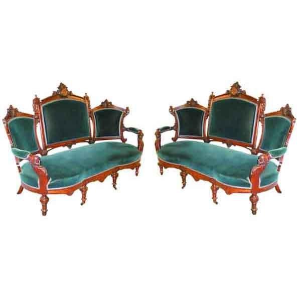 4942 Pair of Antique 19th C. Victorian Sofas by John Jelliff