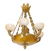 4943 Bronze Empire Chandelier with Alabaster Shades