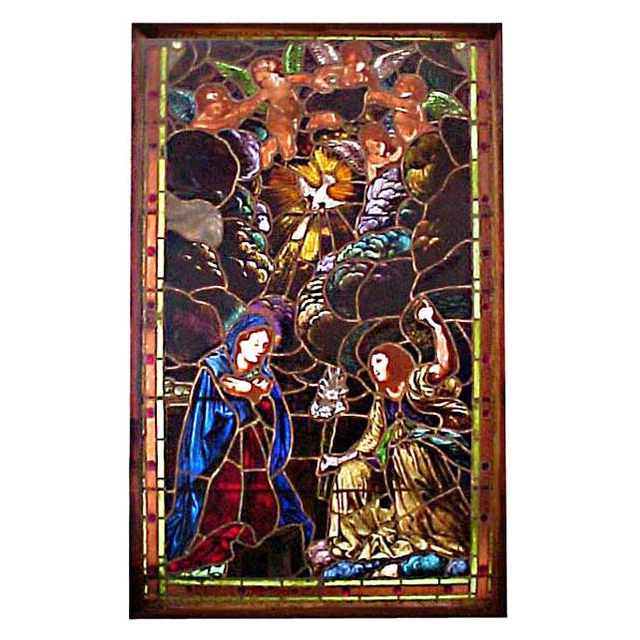 4946 19th C. Antique  Stained Glass Window Depicting The Annunciation