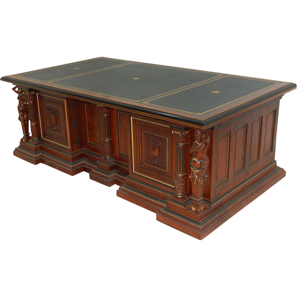 4974 Figural Carved Executive Desk