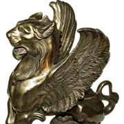 4996 19th C. Bronze Griffin Chenets