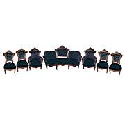 4998 Wonderful 7-Piece American Walnut Renaissance Revival Parlor Set