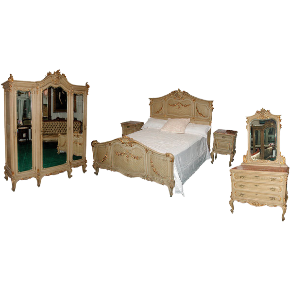 5009B 9-Piece French Painted Bedroom Set c. 1890