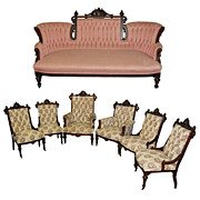5016 Beautiful 7-Piece American Rosewood Parlor Set by George Hunzinger c. 1885