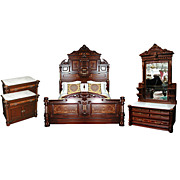 5023A Antique 4-Pc. American Victorian Bedset by Thomas Brooks c. 1880