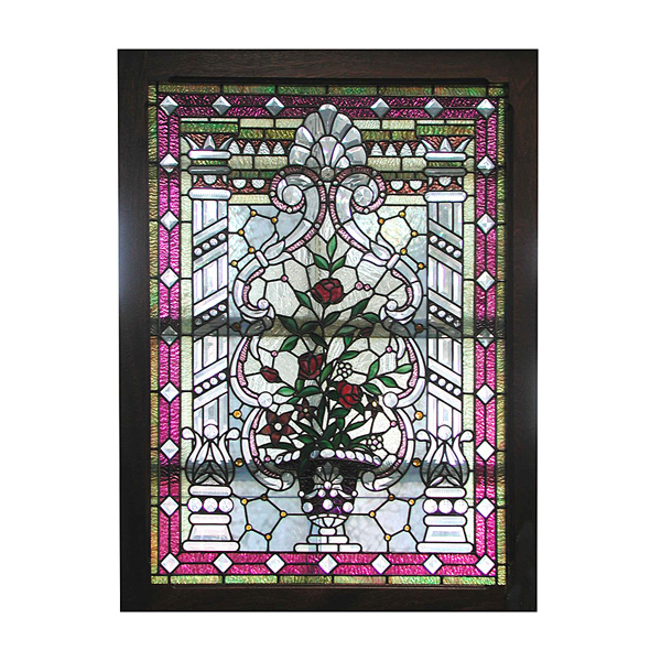 5644 Magnificent American Leaded & Stained Glass Jeweled Landing Window