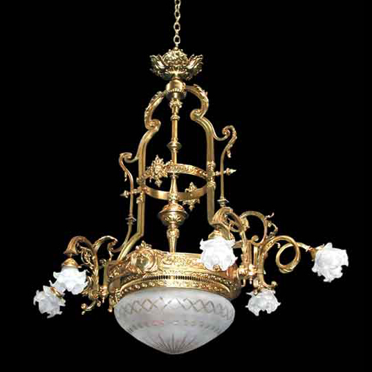 5038 Stunning Large Cast Brass Chandelier with Cut Glass Dome c. 1910