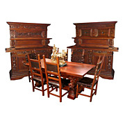 5050 9-Piece European Carved Figural Dining Suite c. 1880