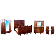 5051 Nice 6-Pc. Walnut Cherub Bedroom Set c. 1920