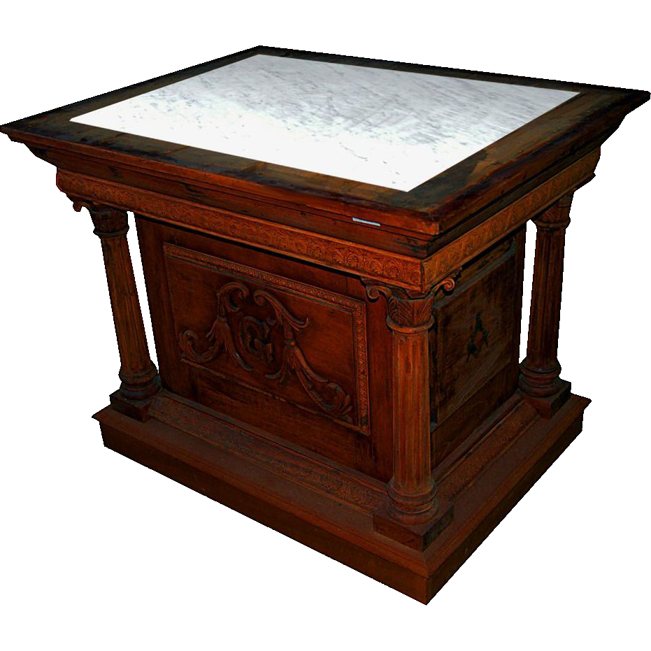 5066 Mahogany Pedestal with Columns & Leather Top