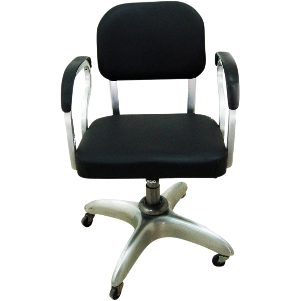 5078 Mid Century Industrial Aluminum Secretarial Swivel Chair
