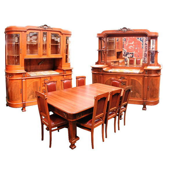5109 Wonderful 11 Pc. Mahogany & Walnut Art Nouveau Dining Suite c. 1920