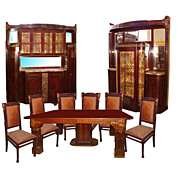 5116 Fabulous 9 Pc Mahogany Art Nouveau Dining Suite.