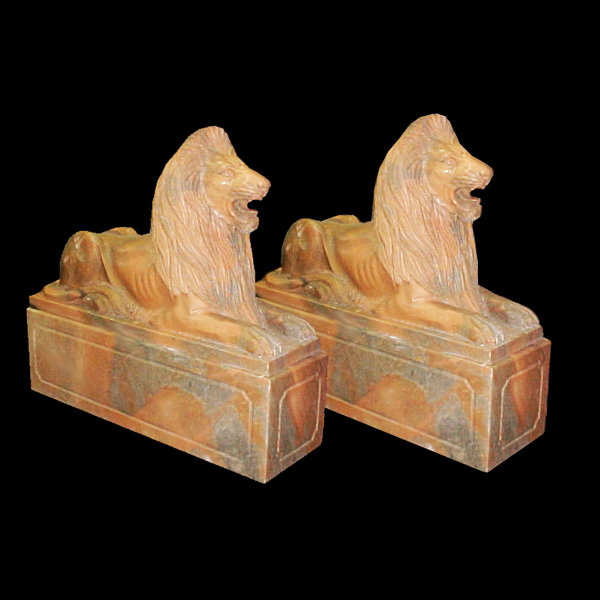 5121 Pair of Carved Marble Lions on Rectangular Plinths