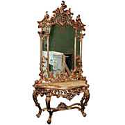 5136 Beautiful 19th C. Mirrored Console with White Marble Top