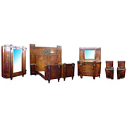 5151 Great Italian Walnut & Bronze 5-Pc. Inlaid Bedroom Suite c. 1930