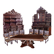 5152 19th C. Italian 11-Piece Carved Walnut Dining Suite c. 1890