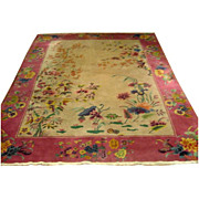 Nichols rug, Hand woven Art Deco with Beautiful Floral Pattern c. 1920 #5159