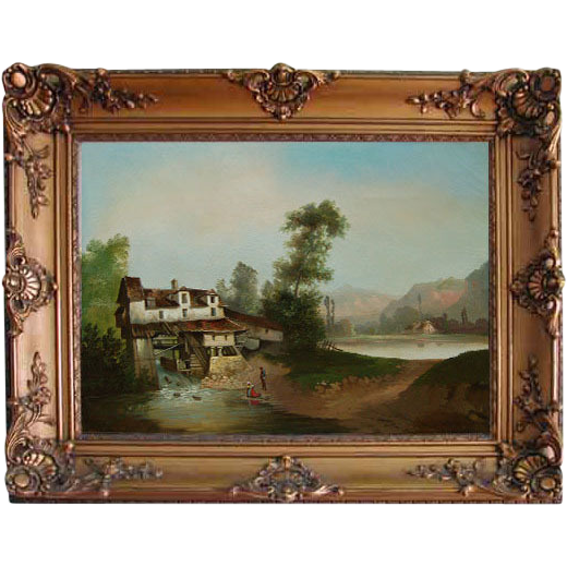 "5172 19th C. Oil on Canvas painting ""Mill House"" Signed Anton Levy"