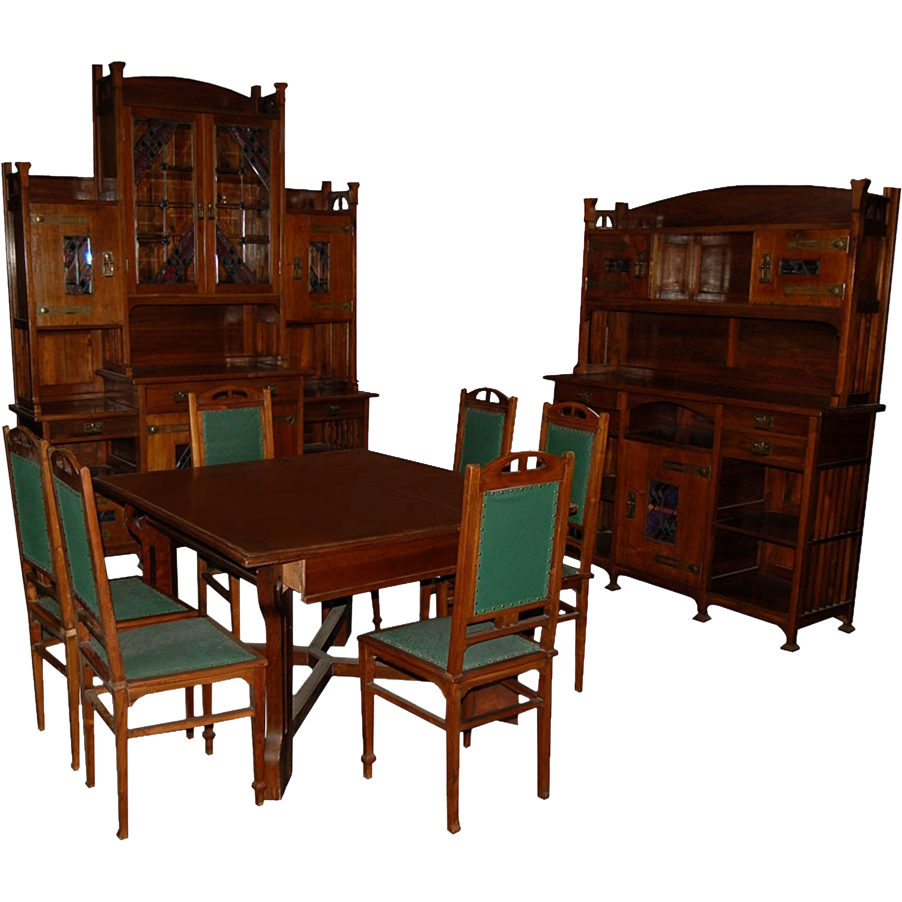 5184 5184 English Arts and Crafts Very Unusual 11 Piece Dining Room Suite with Stained Glass Cabinets