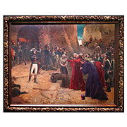 5190 Magnificent 19th C. Oil on Canvas Napoleon Painting: Revolt at Pavia-1797