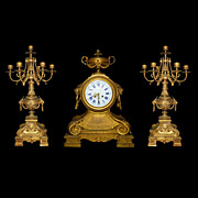 63.520 Three-Piece Matching Neo-Classical Bronze Clock Set