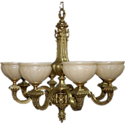 5204 19th C. Bronze Victorian Chandelier with Alabaster Shades