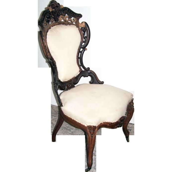 5207 19th C. American Rococo Side Chair by J.W. Meeks