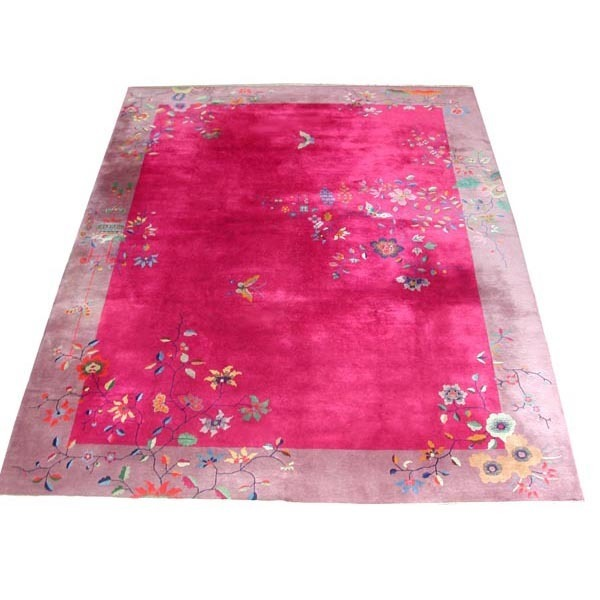 5216 Art Deco Style Chinese Rug with Butterfly & Floral Pattern c.1910