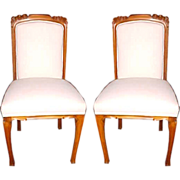 5230 Pair of Vintage French Walnut Art Nouveau Side Chairs c. 1920