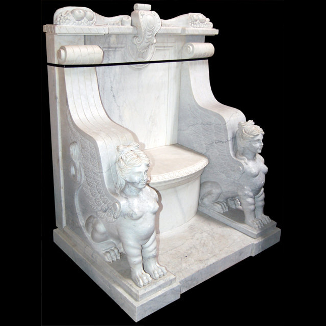5232 White Marble Throne Chair with Carved Sphinxes