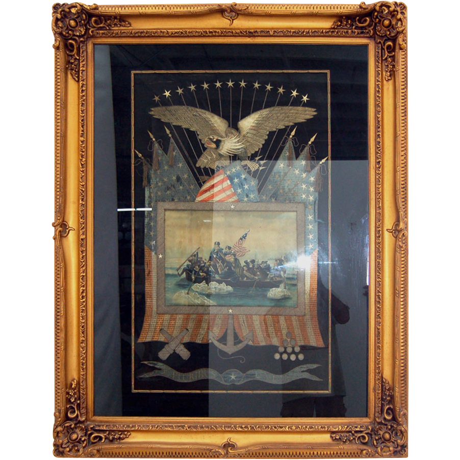5258 Framed Japanese Silk Naval Embroidery Memorabilia c. 1905