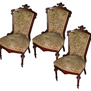 5289 Set of 3  Renaissance Revival Side Chairs with Nice Carvings.